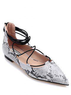 Impresión De La Serpiente Del Entrecruzamiento De Los Zapatos Planos - Blanco 38
