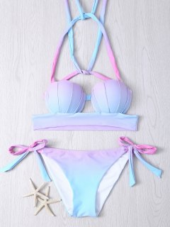 Halter Ombre Underwire Seashell Bikini Set - S