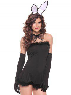 Charming Strapless Fur Embellished Women's Cosplay Costume - Black