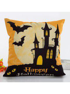 Clásica Casa Del Feliz Halloween Del Palo Patrón Funda De Almohada De Lino - Negro Y Naranja
