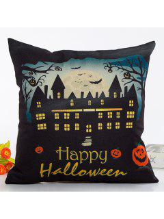 Vintage House Light Happy Halloween Design Linon Pillow Case - Yellow And Black