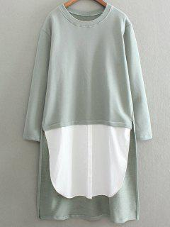 High Low Spliced ​​palangre Sweatshirt - Vert Cendré