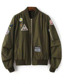 Patch Design Stand Neck Zipper Up Jacket - Army Green M