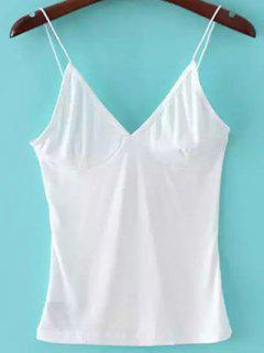 V Neck Solid Color Cami Top - Blanc