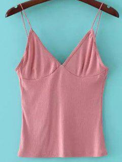 V Neck Solid Color Cami Top - Rose PÂle