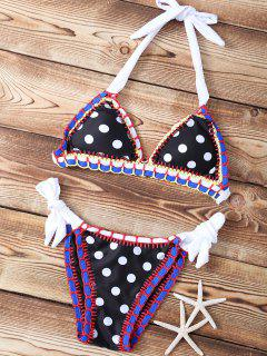Polka Dot Stitched Halter String Bikini Set - Black L
