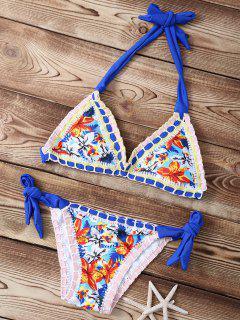 Ensemble Bikini Dos-Nu Au Crochet Imprimé Floral - Azur S