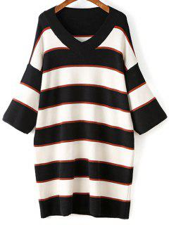Striped V-Neck Sweater Dress - White