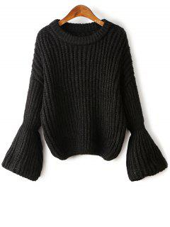 Bell Sleeve Chunky Sweater - Black