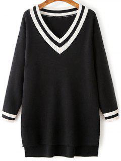 Pullover Kleid Mit Seitenschlitz Und V Ausschnitt - Schwarz