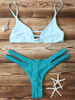 Bicolor Banded Bikini Set - Green L