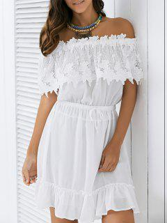 Drawstring Lace Spliced Off The Shoulder Dress - White S