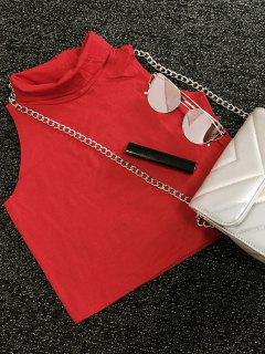 Turtle Neck Cropped Top - Red S