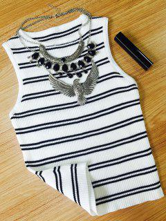 Stripe Round Collar Tank Top - White