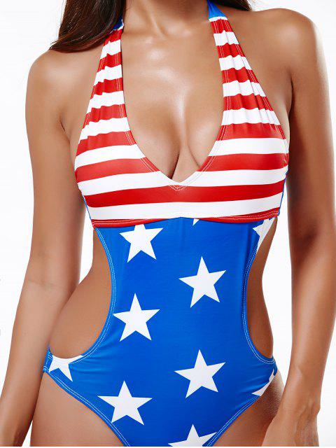 shop Halter American Flag Bathing Suit - BLUE AND RED 2XL Mobile