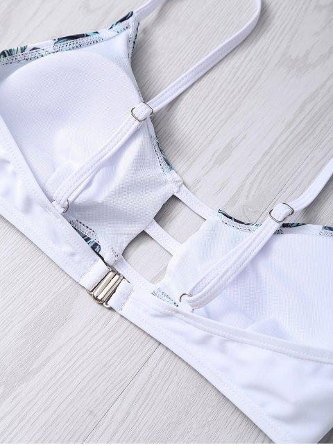 fashion Hollow Out Leaves Print Bikini Set - COLORMIX S Mobile