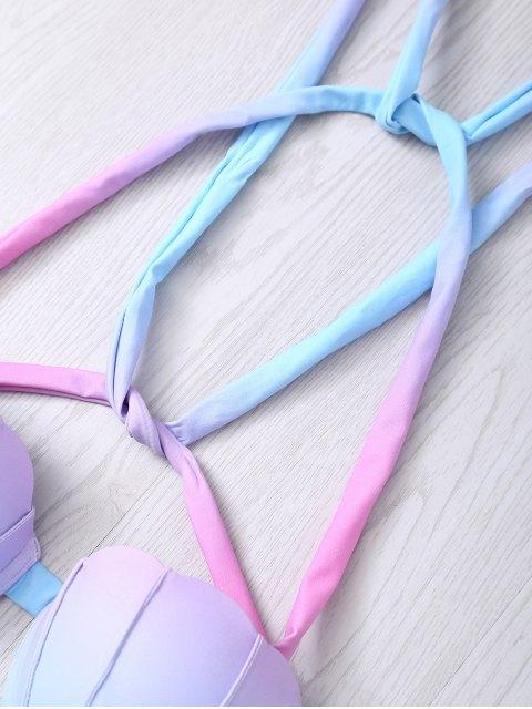 latest Halter Ombre Underwire Seashell Bikini Set - COLORMIX S Mobile