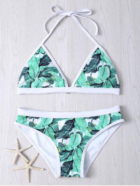chic Halter Leaf Printed Bikini Set - GREEN 2XL Mobile