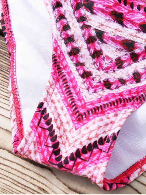fashion Red Stripe High Neck Hollow Bikini Set - RED M Mobile