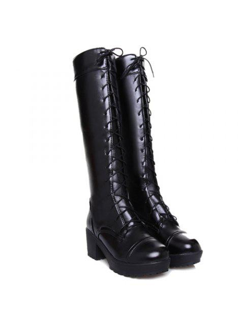 best Stylish Front Lace-Up and Chunky Heel Design Knee-High Boots For Women - BLACK 41 Mobile
