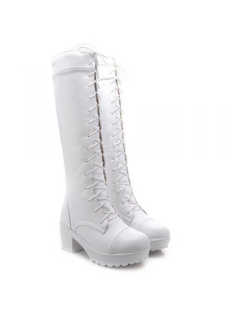 shop Stylish Front Lace-Up and Chunky Heel Design Knee-High Boots For Women - WHITE 43 Mobile