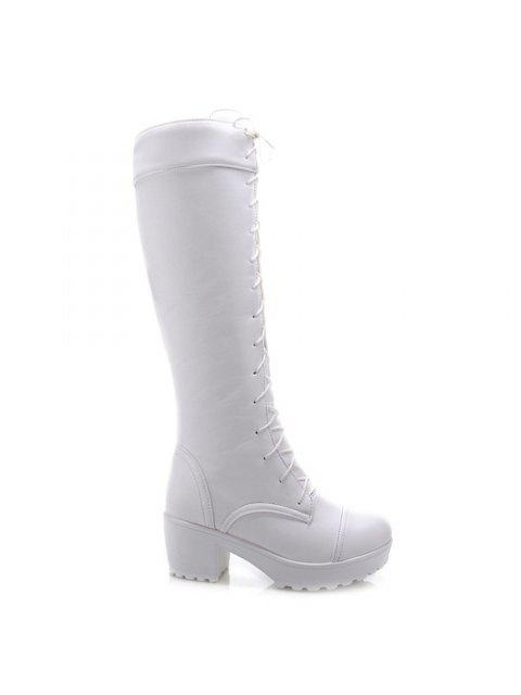 shops Stylish Front Lace-Up and Chunky Heel Design Knee-High Boots For Women - WHITE 41 Mobile