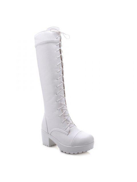 Elegante frente de cordones y diseño del talón botas de caña alta gruesos para las mujeres - Blanco 41 Mobile