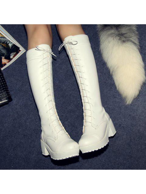 chic Stylish Front Lace-Up and Chunky Heel Design Knee-High Boots For Women - WHITE 37 Mobile
