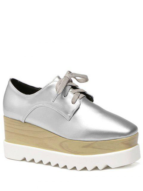 chic Square Toe Lace-Up Platform Shoes - SILVER 37 Mobile