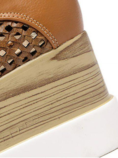 unique Hollow Out Lace-Up  Platform Shoes - LIGHT BROWN 39 Mobile
