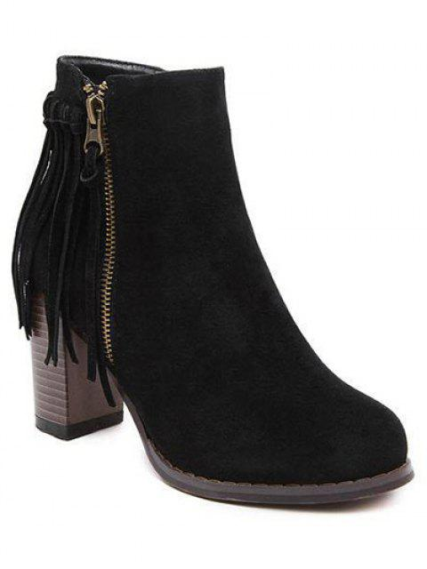 unique Fringe Side Zip Chuny Heel Ankle Boots - BLACK 38 Mobile