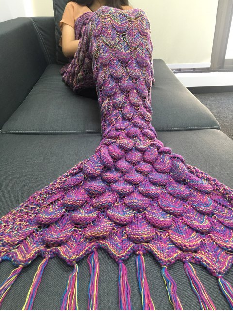 lady Fish Scale and Tassel Design Mermaid Blanket - PURPLE  Mobile