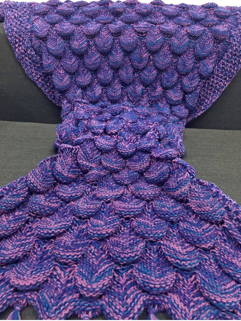 Fish Scale et Tassel Design Mermaid Blanket - Violet  Mobile