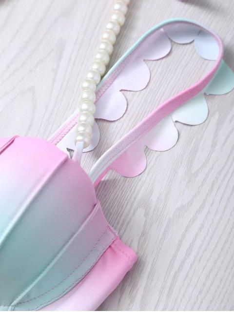 new Gradient Color Scalloped Edge Bikini Set - PINK M Mobile