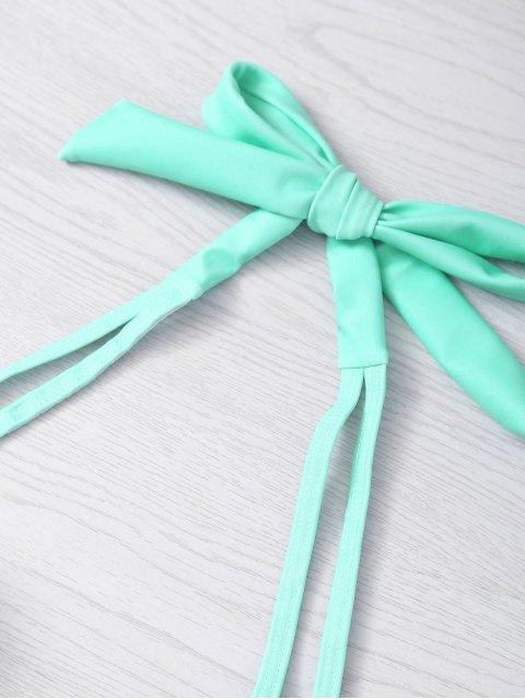 outfits Metal Design Halter Underwire Seashell Bikini - LIGHT GREEN S Mobile