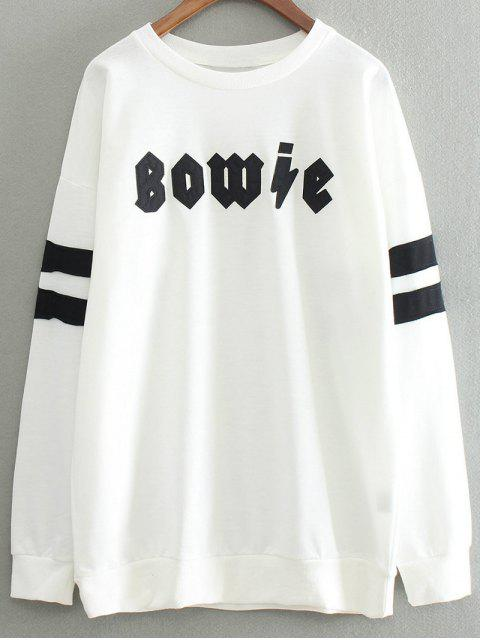 Lettre Patch col rond Sweat-shirt - Blanc TAILLE MOYENNE Mobile