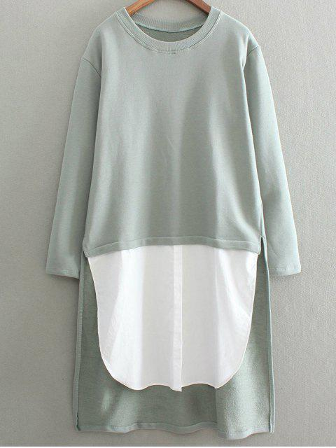 High Low Spliced ​​palangre Sweatshirt - Vert Cendré Taille Unique Mobile