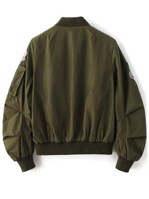 latest Patch Design Stand Neck Zipper Up Jacket - ARMY GREEN L Mobile