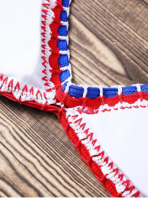 latest Print Crocheted Halter String Bikini Set - BLUE M Mobile
