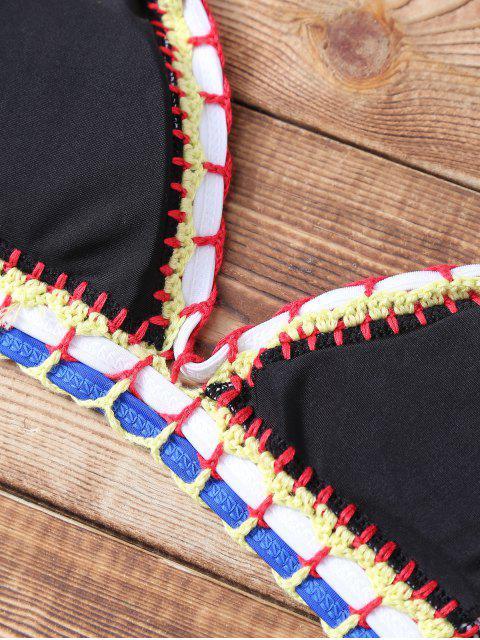 shop Polka Dot Stitched Halter String Bikini Set - BLACK S Mobile