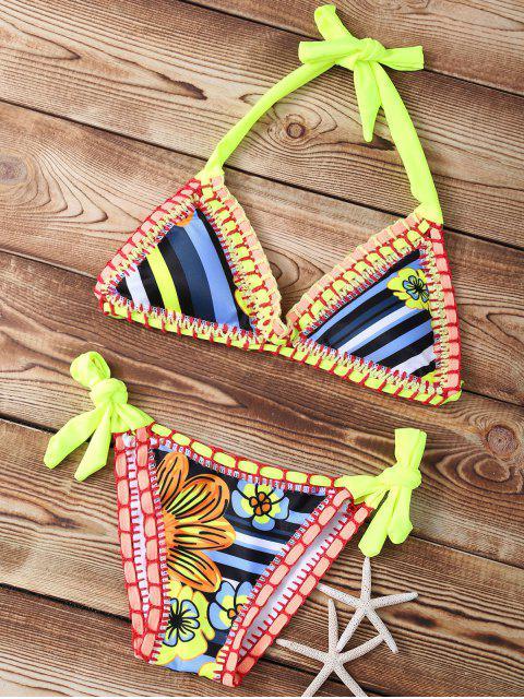 trendy Striped Crocheted Halter String Bikini Set - NEON BRIGHT GREEN S Mobile