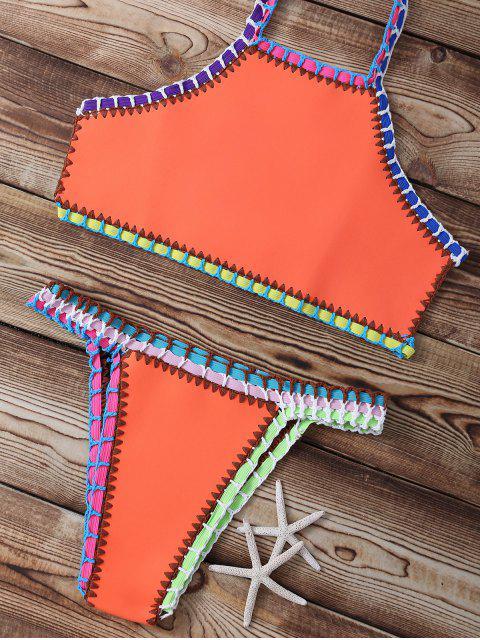 fancy Neoprene Braided Straps Bikini - ORANGE L Mobile