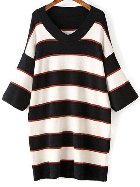 fashion Striped V-Neck Sweater Dress - WHITE ONE SIZE Mobile