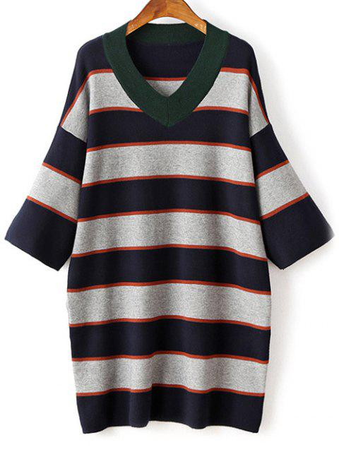 chic Striped V-Neck Sweater Dress - GRAY ONE SIZE Mobile
