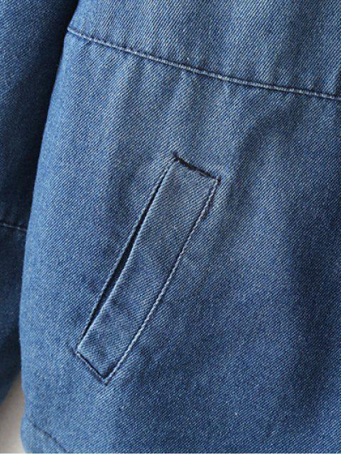 new Zipped Hooded Denim Jacket - LIGHT BLUE XL Mobile