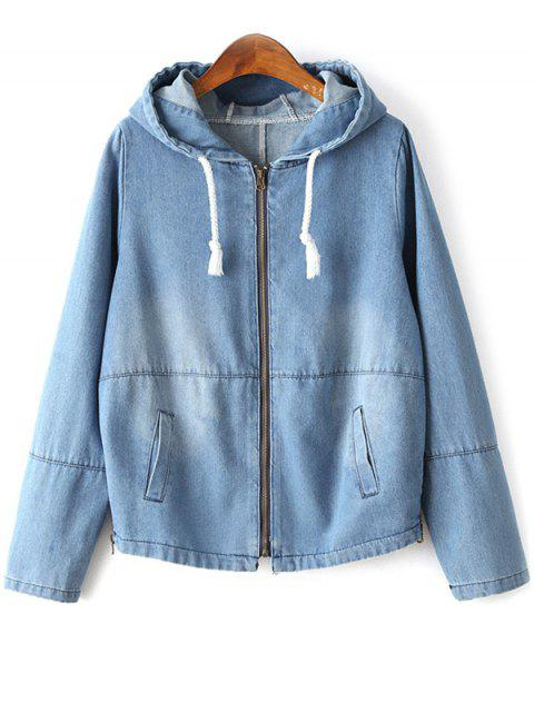 outfit Zipped Hooded Denim Jacket - LIGHT BLUE M Mobile