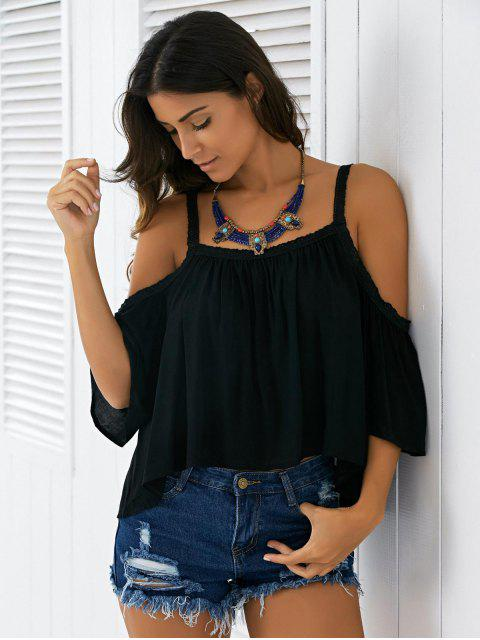 chic Cold Shoulder Blouse - BLACK S Mobile