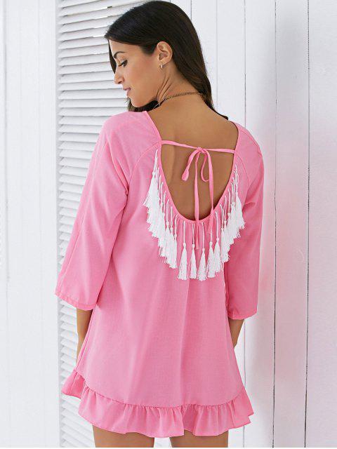 best Backless Tassels Shift Dress - PINK M Mobile