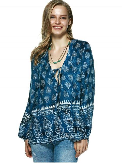 womens Elegant Plunging Neck Tribal Print Blouse - BLUE L Mobile