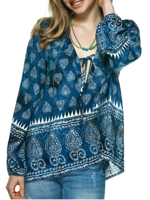 womens Elegant Plunging Neck Tribal Print Blouse - BLUE L Mobile